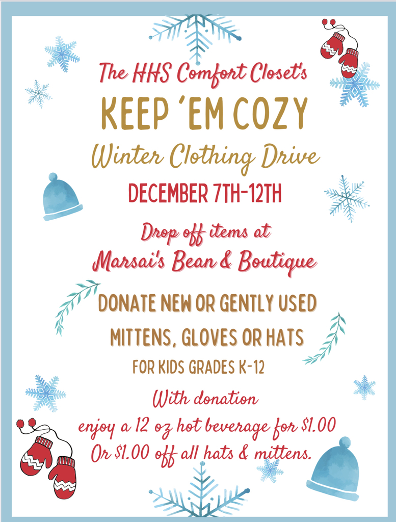 Keep Em Cozy hats & mittens drive poster