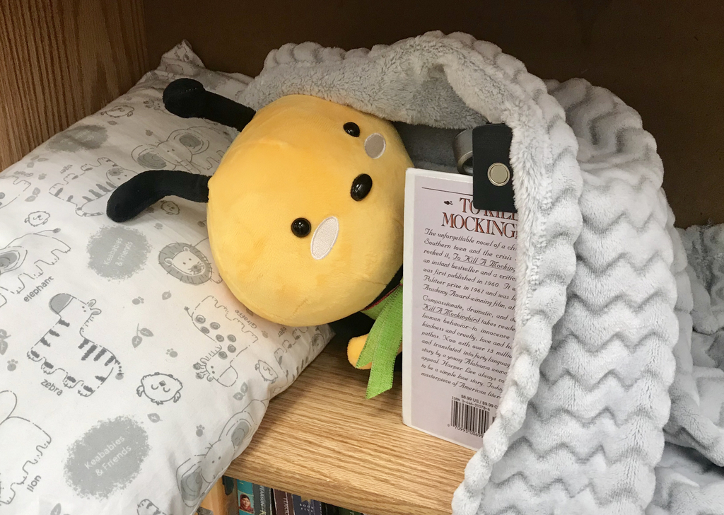 Stuffed bee reading a book in bed.