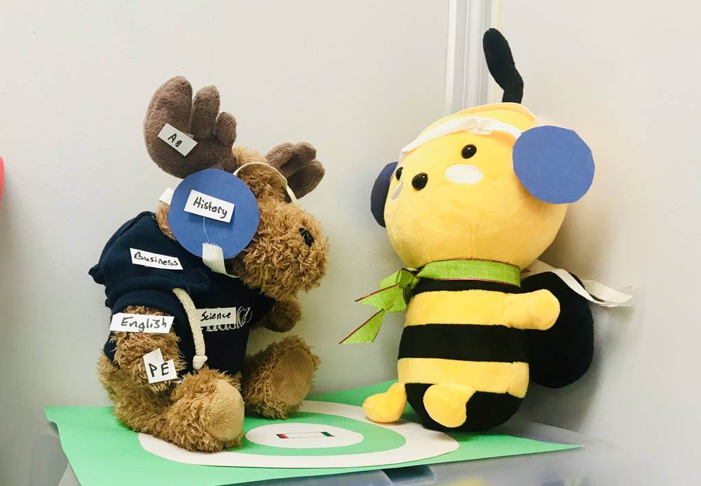 Stuffed bee in a wrestling match with a moose.